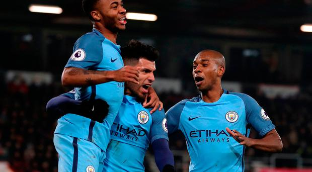 Manchester City's Sergio Aguero celebrates his side's second goal