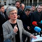 Children's Minister Katherine Zappone speaks to journalists on the plinth in Leinster House. Photo: Damien Eagers