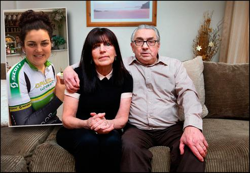 Pat and Brian McEvoy whose daughter Tonya (inset) was killed in a cycling accident.Pic Steve Humphreys