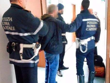 Irish fan arrested by police in Rome. Picture: Corpo di Polizia Locale di Roma Capitale