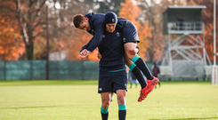 Jonathan Sexton and Paddy Jackson of Ireland during squad training