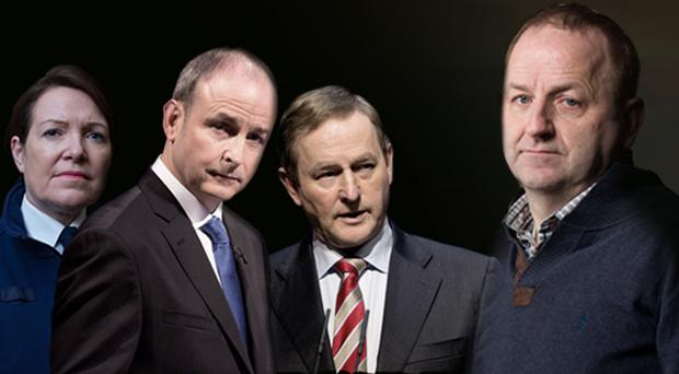 From left to right: Garda Commissioner Noirin O'Sullivan, Fianna Fail leader Michael Martin, Taoiseach Enda Kenny and Garda whistleblower Maurice McCabe