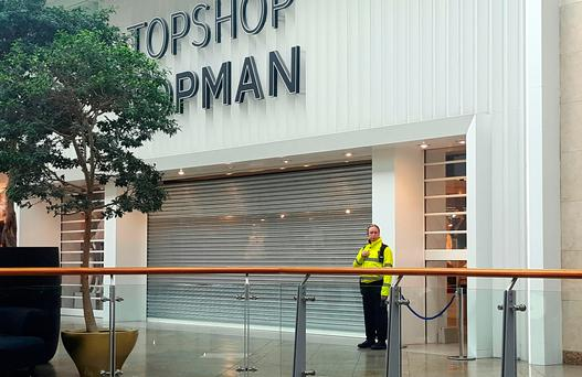The scene outside Topshop in the Oracle shopping centre in Reading, Berkshire, where according to reports a 10-year-old boy died from severe head injuries following an incident involving shop furniture. Photo: Dominic Harris/PA Wire