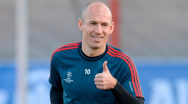 Arjen Robben in training. Photo: Christof Stache/AFP/Getty Images