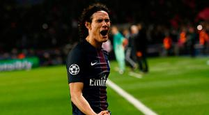 PSG's Edinson Cavani celebrates after completing the rout of Barcelona. Photo: Christophe Simon/AFP/Getty Images