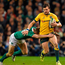 Adam Ashley-Cooper, Australia, is tackled by Tommy Bowe, Ireland