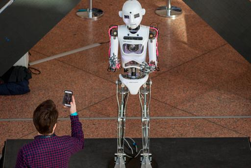 A full size and functioning humanoid robot called Robothespian at the Dublin Tech Summit 2017 at the Convention Centre. Pic:Mark Condren