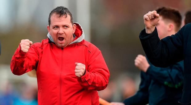 LIT manager Davy Fitzgerald celebrates after Jason McCarthy scored their side's first goal during the Independent.ie HE GAA Fitzgibbon Cup Quarter-Final between Limerick IT and University College Dublin at Limerick IT in Limerick. Photo by Diarmuid Greene/Sportsfile