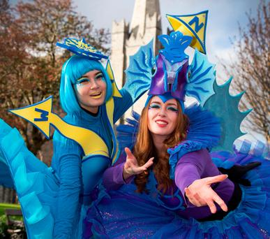Piyanuch Chanphet and Rachel Lalley, of the Artastic Pageant Company, helped launch the St Patrick's Festival 2017 in Dublin. Photo: Colin O'Riordan