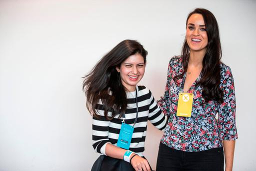 Tania Dsouza and Emily MacKeogh, from Dublin, at the Dublin Tech Summit in the Convention Centre. Photo: Mark Condren