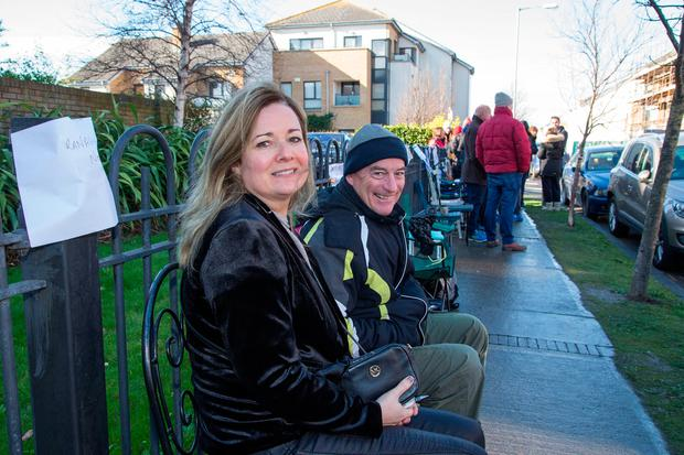 Homebuyers Catherine Ranaghan and Brendan Toolan queue outside the Silver Banks showhomes at Baldoyle yesterday. Photo: Colin O'Riordain
