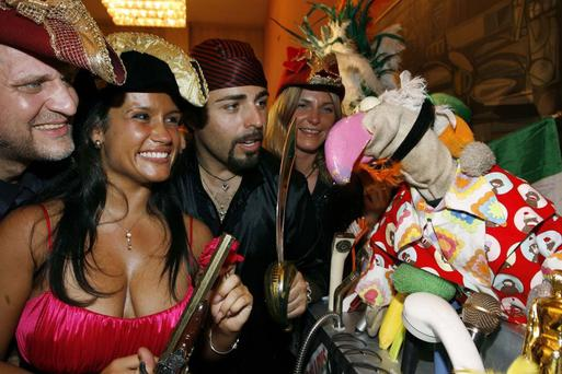 Dustin The Turkey pictured with Latvian entry Pirates of the Sea at a welcome party in Belgrade Serbia for the Eurovision Song contest...Pic By Kyran O'Brien/KOBPIX