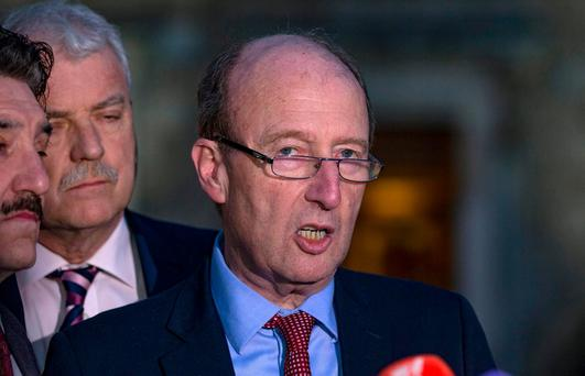 Minister Shane Ross, speaking to the press at Leinster House. Photo: Arthur Carron