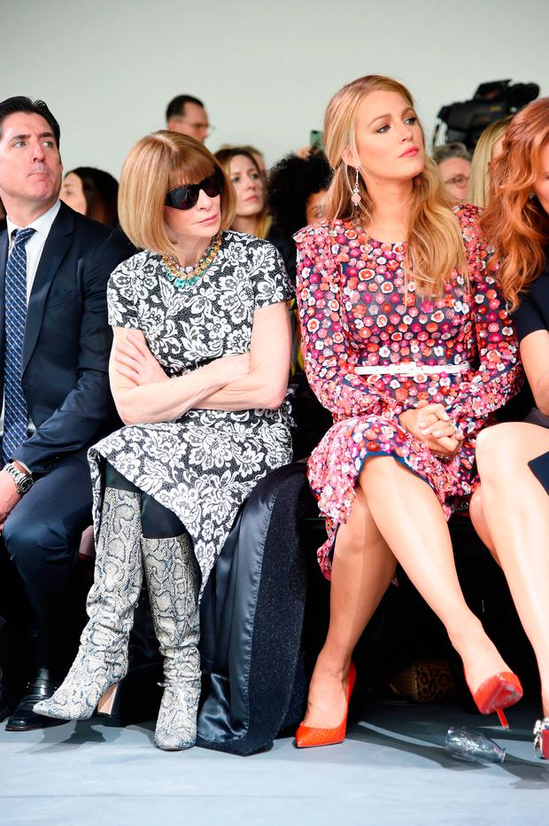 Anna Wintour (L) and actress Blake Lively attend the Michael Kors Collection Fall 2017 runway show at Spring Studios on February 15, 2017 in New York City. (Photo by Jamie McCarthy/Getty Images for Michael Kors)