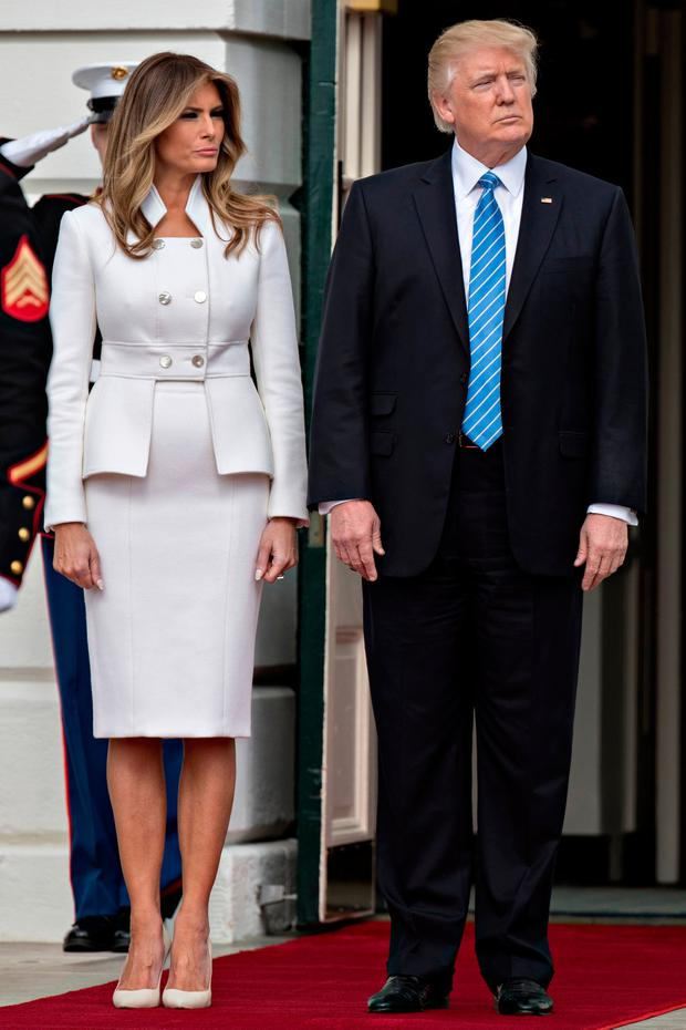 U.S. President Donald Trump and first lady Melania Trump wait to greet Israeli Prime Minister Benjamin Netanyahu and his wife Sara Netanyahu at the South Portico of the White House on February 15, 2017 in Washington, D.C.