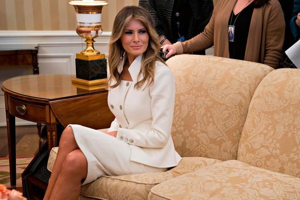 U.S. first lady Melania sits in the Oval Office during a meeting between President Donald Trump and Israeli Prime Minister Benjamin Netanyahu at the White House on February 15, 2017 in Washington, D.C.