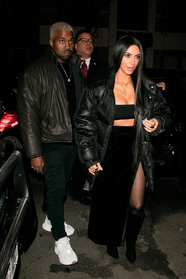 Kanye West and wife Kim Kardashian West are seen on February 14, 2017 in New York City. (Photo by Marc Piasecki/GC Images)
