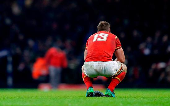 Wales' Jonathan Davies at the final whistle of last Saturday's game in Cardiff