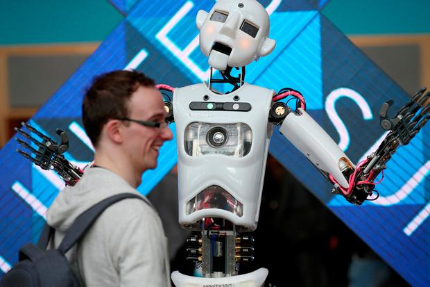 A full size and functioning humanoid robot called Robothespian at the Dublin Tech Summit 2017 at the Convention Centre. Pic:Mark Condren 15.2.2017.