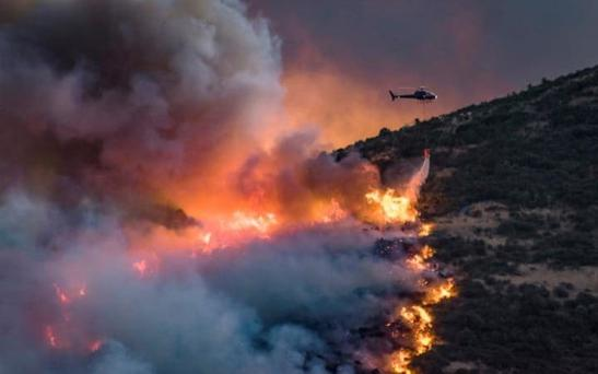 A helicopter dumps fire retardant on wildfires near Christchurch on New Zealand's South Island Credit: Reuters