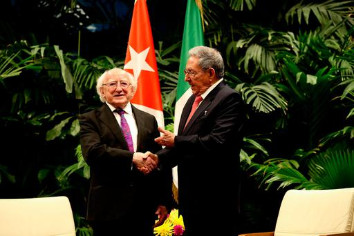 President Higgins meets Cuban president Raul Castro at the Plaza de la Revolucion in Havana. Photo: Maxwells
