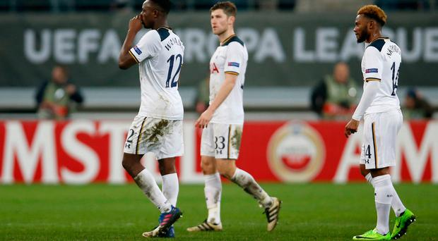 Tottenham's Victor Wanyama, Ben Davies and Georges-Kevin Nkoudou look dejected after the game