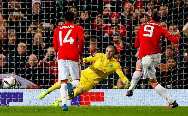 Manchester United's Zlatan Ibrahimovic scores their third goal from the penalty spot to complete his hat trick. Photo: Jason Cairnduff/Action Images via Reuters