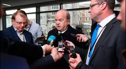 Finance Minister Michael Noonan speaking to media at the Corporate Tax: Fairness, Responsibility and Leadership Conference at Dublin Castle yesterday. Photo: Steve Humphreys