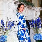 'Thea' sapphire and white embossed jacquard oversized coat, €1,795; 'Nina' dress, €1,995, both Louise Kennedy, 56 Merrion Square, Dublin 2, louisekennedy.com