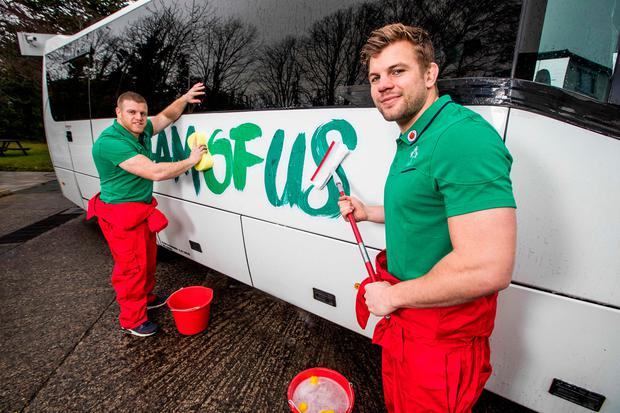 Ireland international Jordi Murphy (right) and Sean Cronin launching the Vodafone #TeamOfUs Bus competition yesterday Picture: ©INPHO/Morgan Treacy