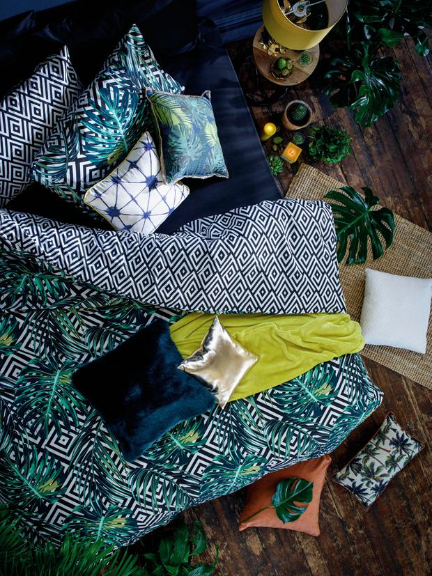 Tropical-patterned bedding and cushions from Penneys