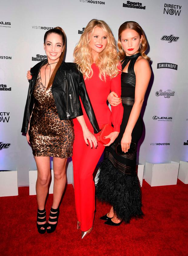 (L-R) Alexa Ray Joel, Christie Brinkley and Sailor Lee Brinkley-Cook attend the Sports Illustrated Swimsuit 2017 launch event at Center415 Event Space on February 16, 2017 in New York City. / AFP PHOTO / Angela WeissANGELA WEISS/AFP/Getty Images