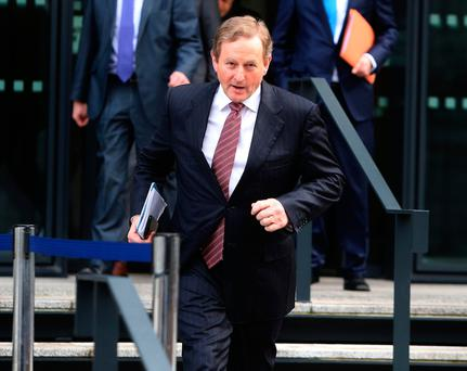 Taoiseach, Enda Kenny, TD leaves the All Island Civic dialogue on Brexit at Dublin Castle. Picture: Damien Eagers