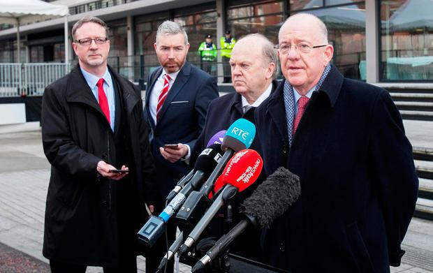 17/02/2017 (L to R) Minister for Finance Michael Noonan TD & Minister for Foreign Affairs and Trade, Charlie Flanagan TD during an All-Island Civic Dialogue on Brexit at Dublin Castle, Dublin. Photo: Gareth Chaney Collins