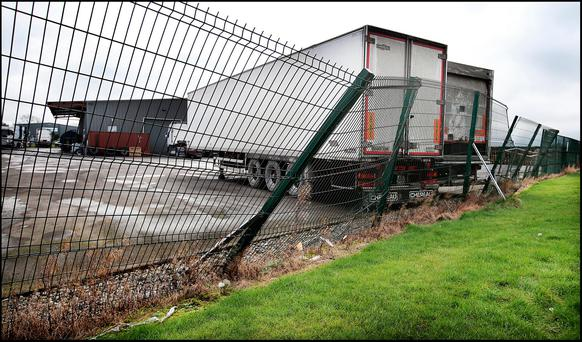 A boundary fence close to the scene of the fatality at a premises on Pine Road at Tougher's Industrial Estate in Naas. Pic Steve Humphreys