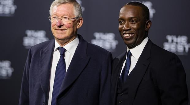 ZURICH, SWITZERLAND - JANUARY 09: Sir Alex Ferguson (L) and Dwight Yorke arrive for The Best FIFA Football Awards 2016 on January 9, 2017 in Zurich, Switzerland. (Photo by Philipp Schmidli/Getty Images)