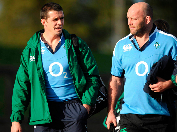 Alan Quinlan and John Hayes, right, arrive for Ireland rugby squad training at the University of Limerick. Photo: Pat Murphy/Sportsfile