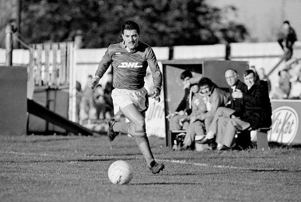 Joe Lawless – Kerr's most expensive signing – races down the wing at Harold's Cross. Photo: Ray McManus/Sportsfile