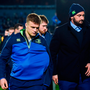Josh van der Flier, left, and Hayden Triggs of Leinster following the Guinness PRO12 Round 15 match between Leinster and Edinburgh at the RDS Arena in Ballsbridge, Dublin. Photo by Ramsey Cardy/Sportsfile