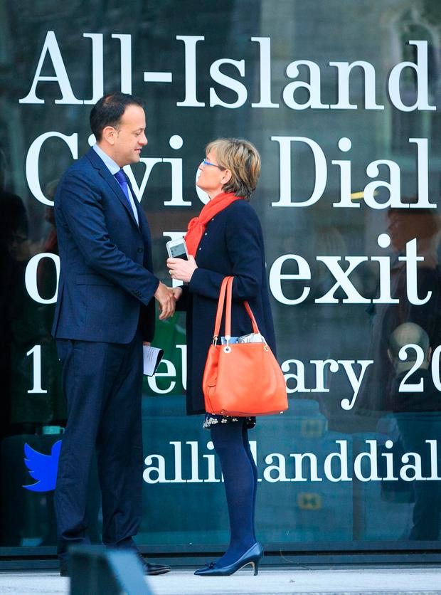 Social Protection Minister Leo Varadkar with MEP Mairead McGuinness during the All-Island Civic Dialogue on Brexit at Dublin Castle yesterday. Photo: Gareth Chaney