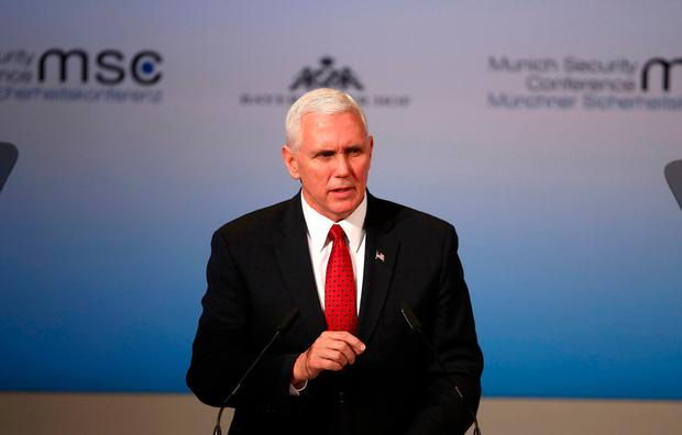 U.S. Vice President Mike Pence delivers his speech during the 53rd Munich Security Conference in Munich, Germany. REUTERS/Michael Dalder