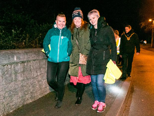 RTE's Blathnaid Ni Chofaigh (center) pictured during the Take back the Night Walk from Shankill to Killiney