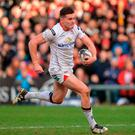 Jacob Stockdale of Ulster runs inr to score his side's third try during the Guinness PRO12 Round 15 match between Ulster and Glasgow Warriors at the Kingspan Stadium in Belfast. Photo by Oliver McVeigh/Sportsfile