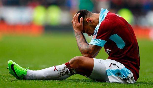 Burnley's Andre Gray looks dejected Photo: Reuters / Jason Cairnduff