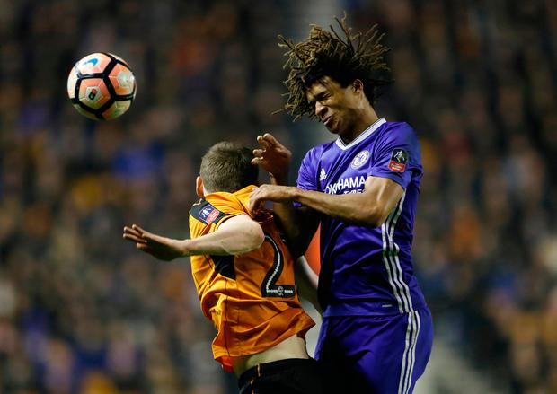 Chelsea's Nathan Ake jumps to head the ball Photo: Reuters / Carl Recine
