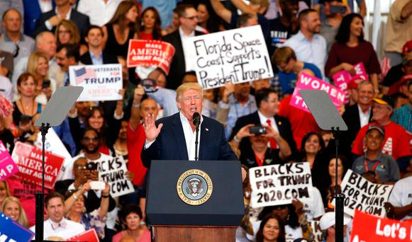 U.S. President Donald Trump speaks during his