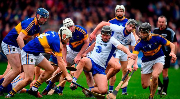 Jake Dillon of Waterford in action against Joe O'Dwyer, left, and Kieran Bergin of Tipperary during the Allianz Hurling League Division 1A Round 2 match between Waterford and Tipperary at Walsh Park in Waterford. Photo by Stephen McCarthy/Sportsfile
