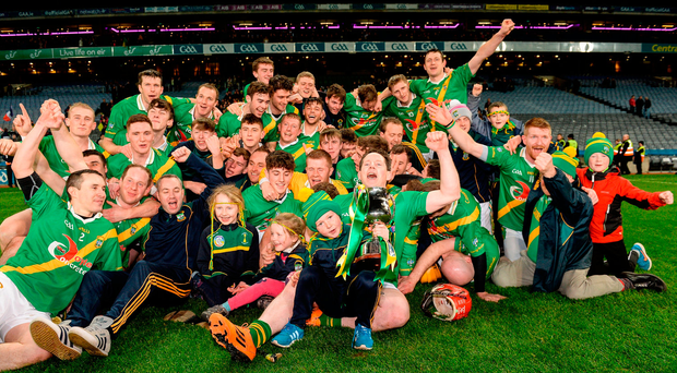 Carrickshock players celebrate after winning the AIB GAA Hurling All-Ireland Intermediate Club Championship final