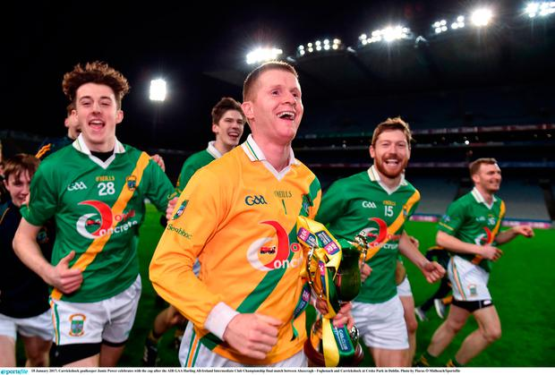 Carrickshock goalkeeper Jamie Power celebrates with the cup after the AIB GAA Hurling All-Ireland Intermediate Club Championship final