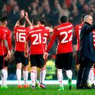 Manchester United players and Manchester United manager Jose Mourinho (right) acknowledge the fans after the final whistle during the Emirates FA Cup, Fifth Round match at Ewood Park, Blackburn